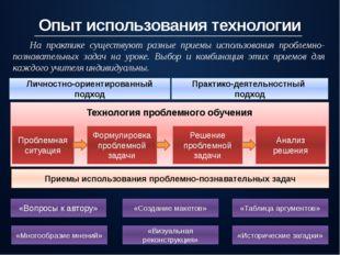 Опыт использования технологии Личностно-ориентированный подход Практико-деяте