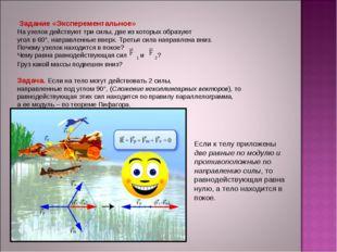 Задание «Эксперементальное» На узелок действуют три силы, две из которых обр