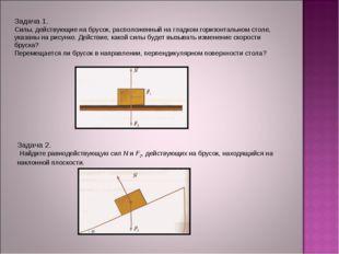 Задача 1. Силы, действующие на брусок, расположенный на гладком горизонтальн