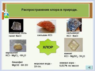 Распространение хлора в природе. бишофит MgCl2 · 6H 2O морская вода - 19 г/л.