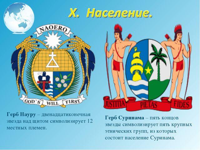 Герб Науру – двенадцатиконечная звезда над щитом символизирует 12 местных пле...