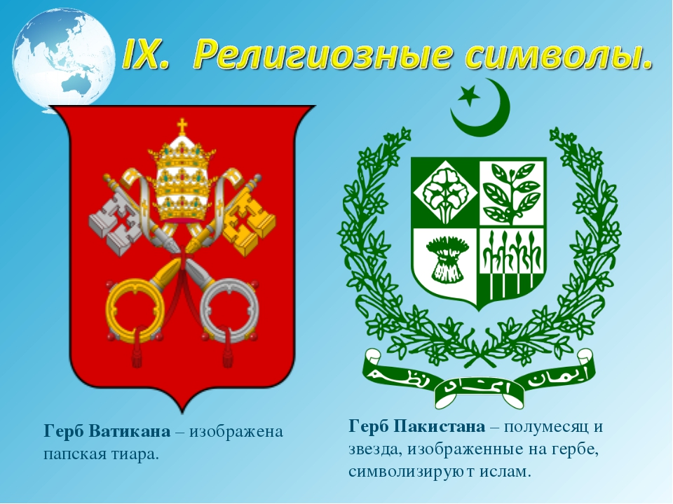 Герб Ватикана – изображена папская тиара. Герб Пакистана – полумесяц и звезда...