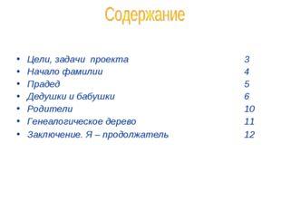 Цели, задачи проекта 3 Начало фамилии 4 Прадед 5 Дедушки и б