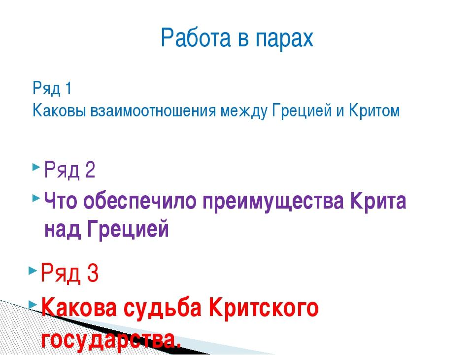 Ряд 1 Каковы взаимоотношения между Грецией и Критом Ряд 2 Что обеспечило преи...