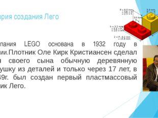 История создания Лего Компания LEGO основана в 1932 году в Дании.Плотник Оле