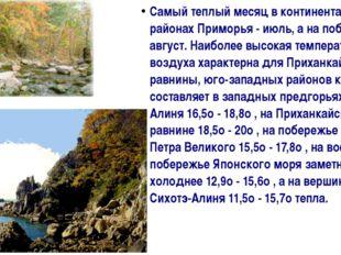Самый теплый месяц в континентальных районах Приморья - июль, а на побережье
