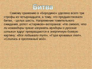 Самому сражению в «Бородино» уделено всего три строфы из четырнадцати, а том