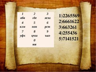 2265569 6661622 663261 255436 7141521 1 абв 2 где 3 жзи 4 клм 5 ноп 6 рст 7 у