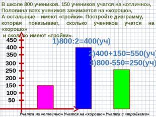 В школе 800 учеников. 150 учеников учатся на «отлично», Половина всех ученико