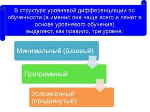 В структуре уровневой дифференциации по обученности (а именно она чаще всего