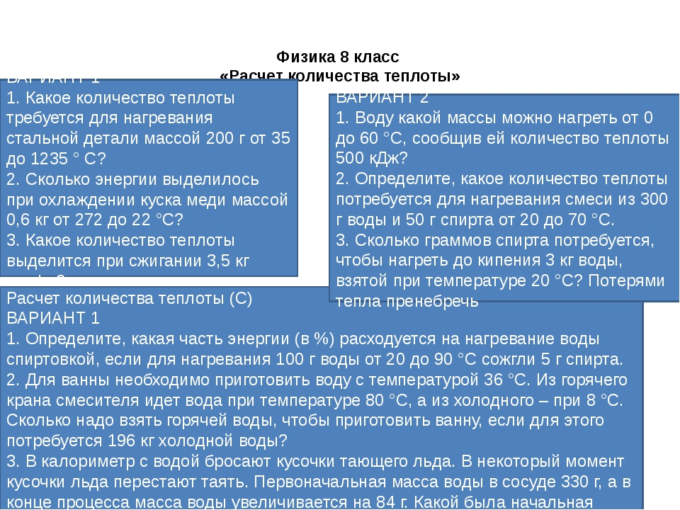 Физика 8 класс «Расчет количества теплоты»  ВАРИАНТ 1 1. Какое количество те...