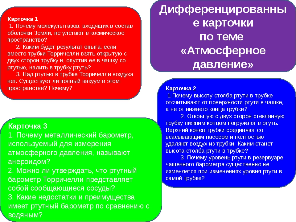 Дифференцированные карточки по теме «Атмосферное давление» Карточка 1 1. По...
