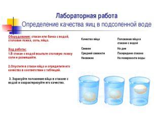 Лабораторная работа Определение качества яиц в подсоленной воде Оборудование: