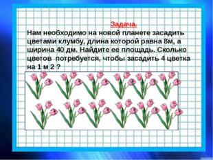 Задача. Нам необходимо на новой планете засадить цветами клумбу, длина котор