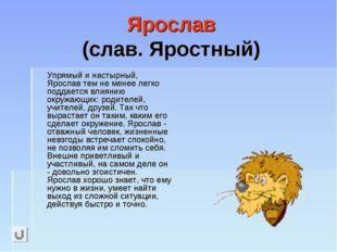 Ярослав (слав. Яростный) Упрямый и настырный, Ярослав тем не менее легко под