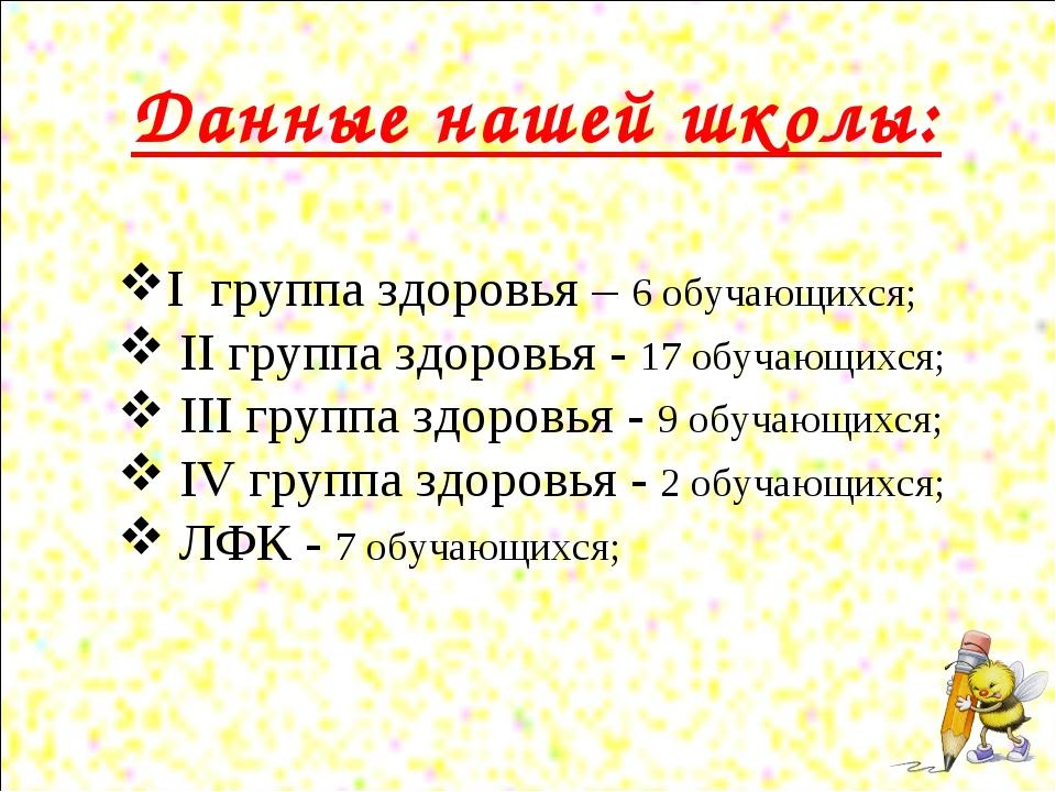 Данные нашей школы: I группа здоровья – 6 обучающихся; II группа здоровья - 1...