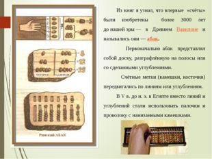 Из книг я узнал, что впервые «счёты» были изобретены более 3000 лет донашей