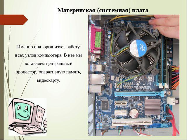 Материнская (системная) плата Именно она организует работу всех узлов компью...