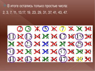 . В итоге остались только простые числа: 2, 3, 7, 11, 13,17, 19, 23, 29, 31,