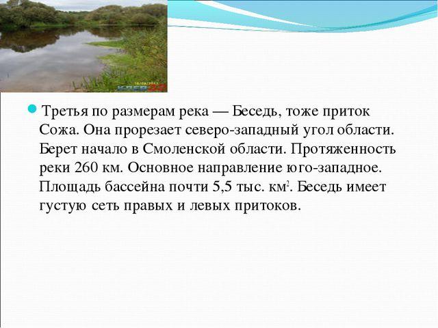 Третья по размерам река — Беседь, тоже приток Сожа. Она прорезает северо-запа...