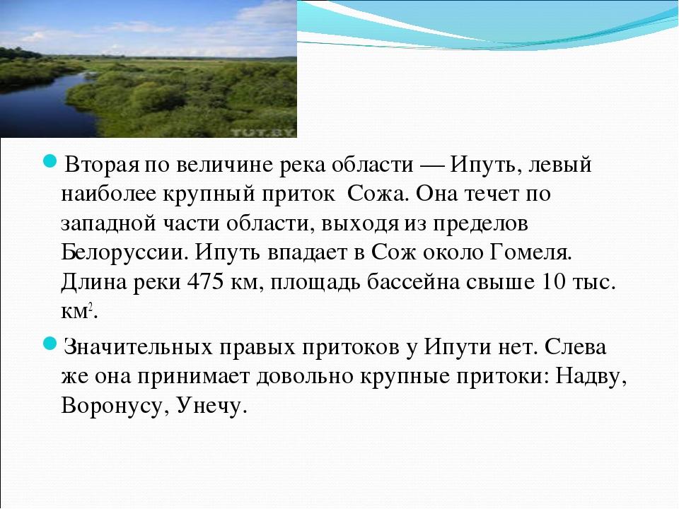 Вторая по величине река области — Ипуть, левый наиболее крупный приток Сожа....