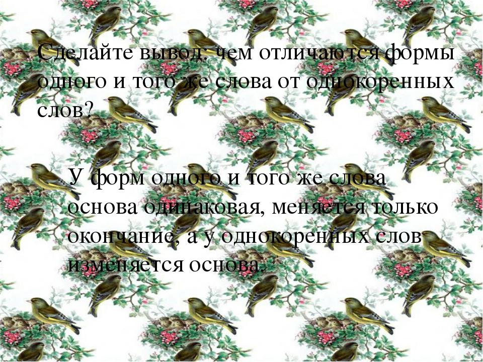 Сделайте вывод: чем отличаются формы одного и того же слова от однокоренных с...