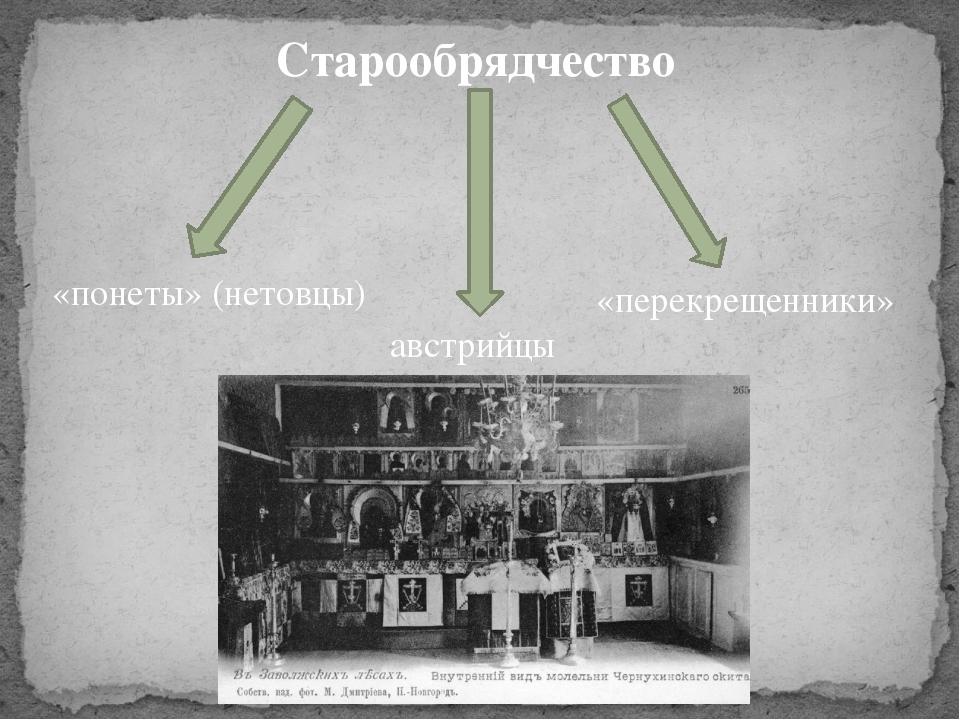 Старообрядчество австрийцы «понеты» (нетовцы) «перекрещенники»