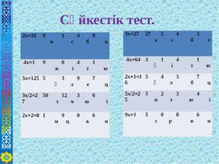 Сәйкестік тест. 2х=16 0 м 3 с 4 б 9 к 4х=1 9 и 0 і 4 т 1 ю 5х=125 5 ә 3 л 9 е