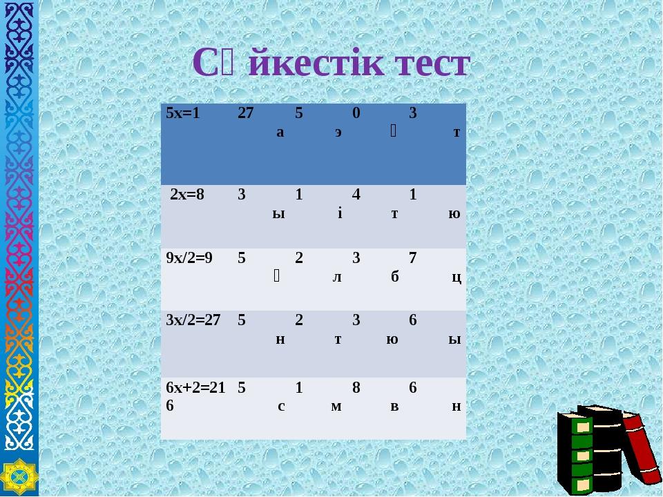 Сәйкестік тест 5х=1 27 а 5 э 0 ғ 3 т 2х=8 3 ы 1 і 4 т 1 ю 9х/2=9 5 ә 2 л 3 б...