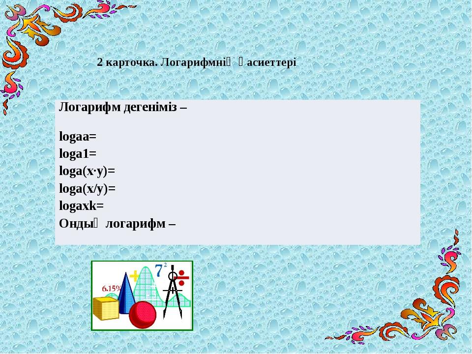 2 карточка. Логарифмнің қасиеттері Логарифм дегеніміз– logaa= loga1= loga(x∙y...