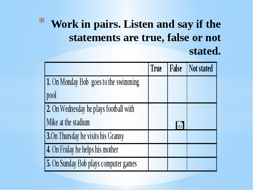 Work in pairs. Listen and say if the statements are true, false or not stated.