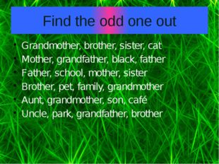 Find the odd one out Grandmother, brother, sister, cat Mother, grandfather, b