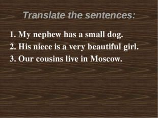 Translate the sentences: 1. My nephew has a small dog. 2. His niece is a very