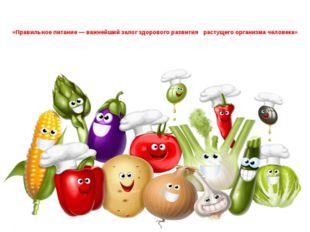 «Правильное питание — важнейший залог здорового развитиярастущего