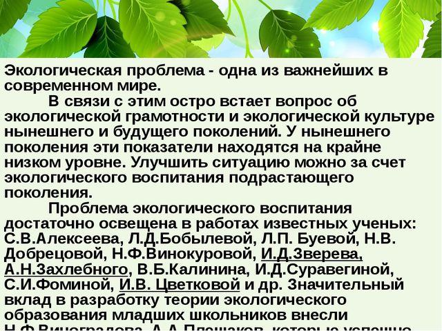 Экологическая проблема - одна из важнейших в современном мире. В связи с эт...