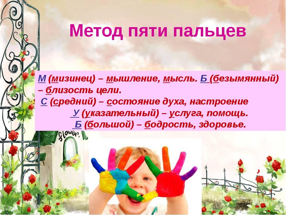 Метод пяти пальцев М(мизинец) – мышление, мысль. Б(безымянный) – близость...