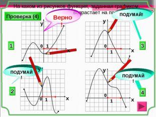 На каком из рисунков функция, заданная графиком, возрастает на промежутке [0