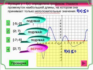 Функция у = f(x) определена графиком. Укажите промежуток наибольшей длины, на