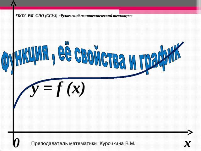 у = f (x) ГБОУ РМ СПО (ССУЗ) «Рузаевский политехнический техникум» x 0 Препод...