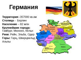 Территория -357000 кв.км Столица - Берлин Население – 82 млн Крупнейшие горо