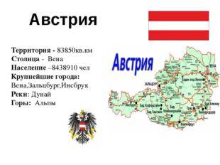Австрия Территория - 83850кв.км Столица - Вена Население –8438910 чел Крупне