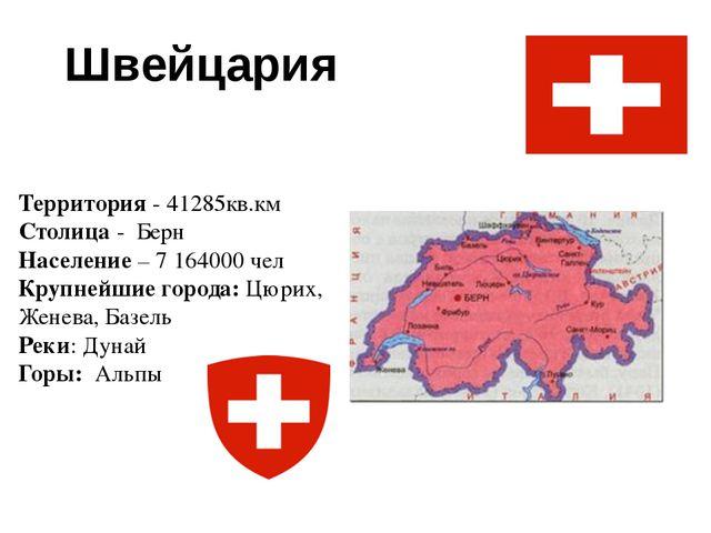 Швейцария Территория - 41285кв.км Столица - Берн Население – 7 164000 чел Кру...