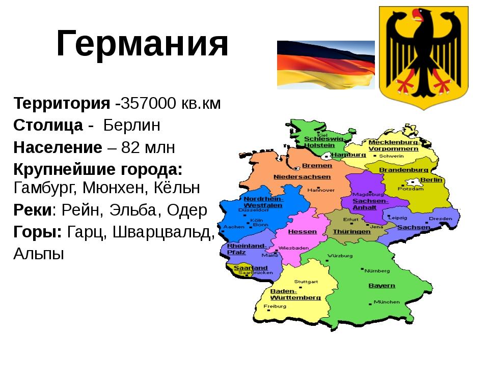 Территория -357000 кв.км Столица - Берлин Население – 82 млн Крупнейшие горо...