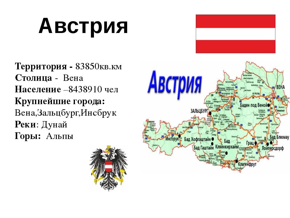 Австрия Территория - 83850кв.км Столица - Вена Население –8438910 чел Крупне...