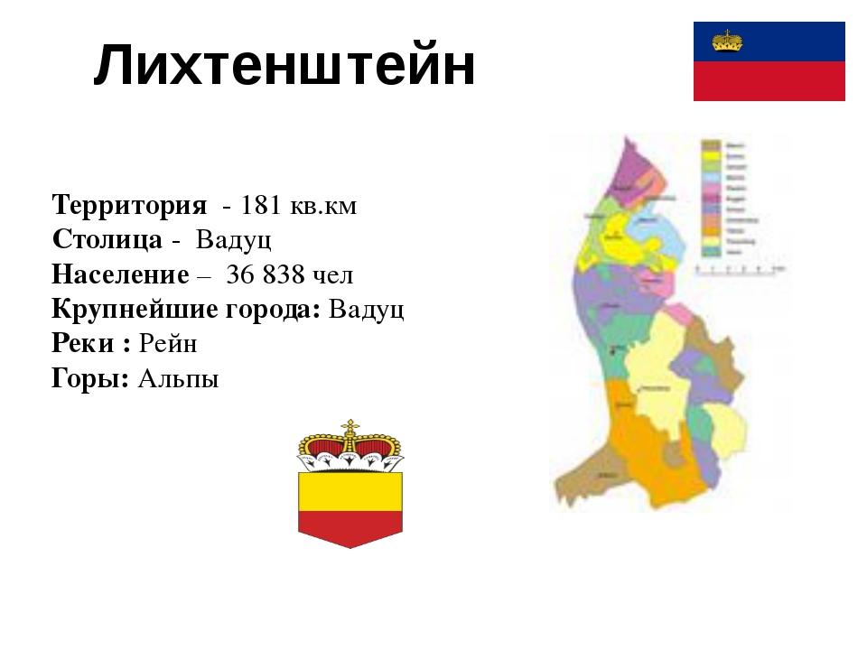 Лихтенштейн Территория - 181 кв.км Столица - Вадуц Население – 36 838 чел Кру...