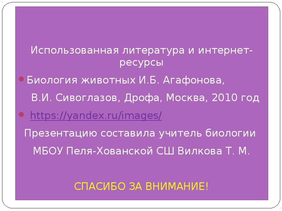 Использованная литература и интернет-ресурсы Биология животных И.Б. Агафонов...