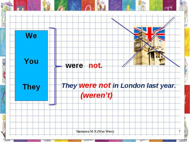 We You They were not. They were not in London last year. (weren't) * Smirnova...