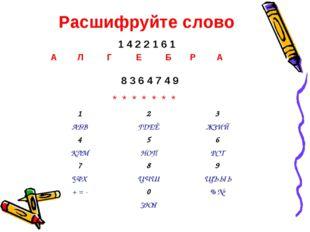 Расшифруйте слово 1 4 2 2 1 6 1 8 3 6 4 7 4 9 * * * * * * * Б А Л Р А Г Е 1