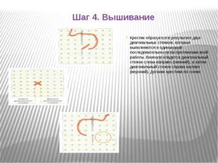 Шаг 4. Вышивание Крестик образуется в результате двух диагональных стежков, к