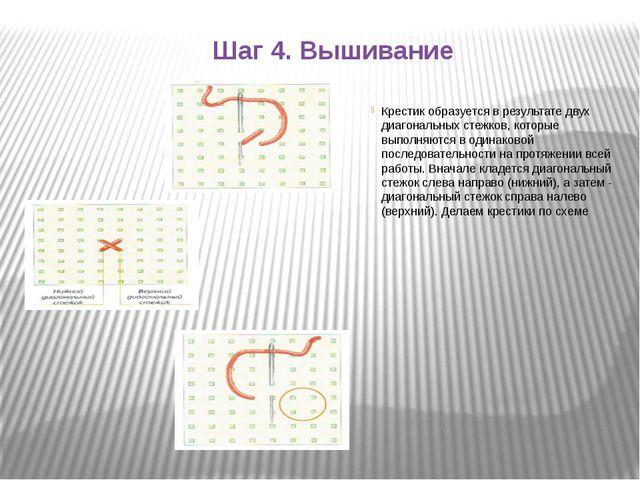 Шаг 4. Вышивание Крестик образуется в результате двух диагональных стежков, к...